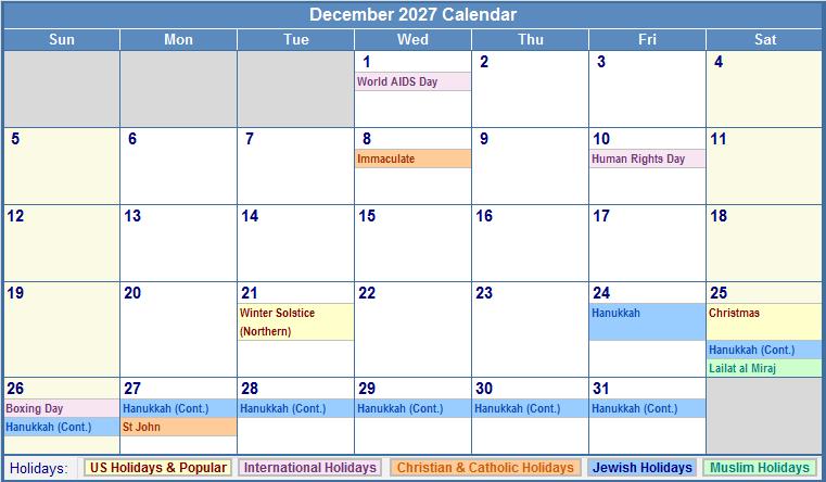 December 2027 Calendar with US, Christian, Jewish, Muslim & Holidays