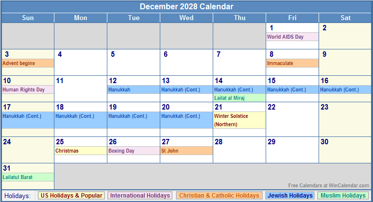December 2028 calendar with us christian jewish muslim amp holidays
