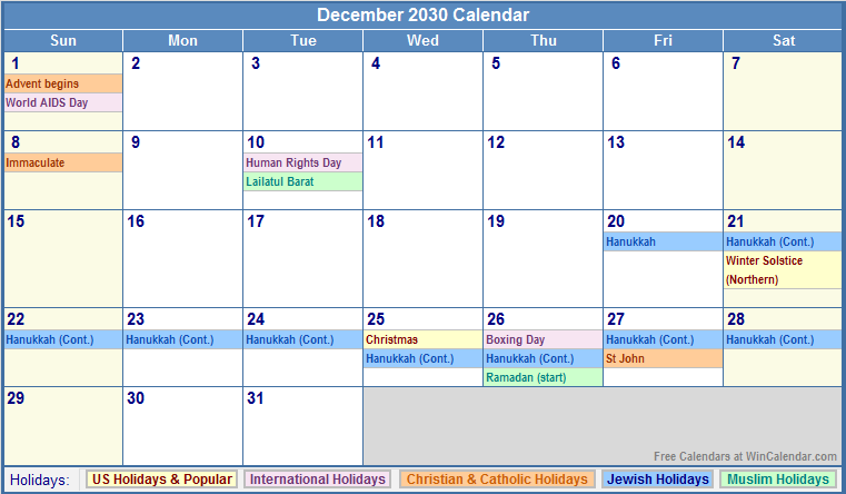 December 2030 calendar with us christian jewish muslim amp holidays