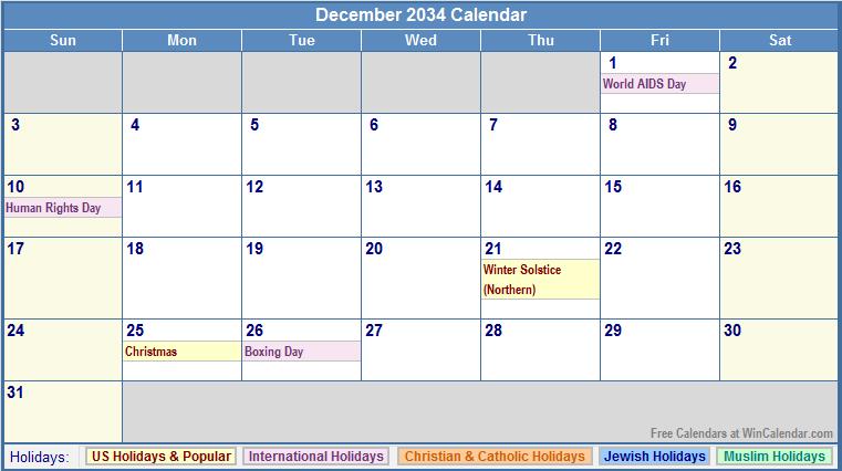 December 2034 Calendar with US, Christian, Jewish, Muslim & Holidays
