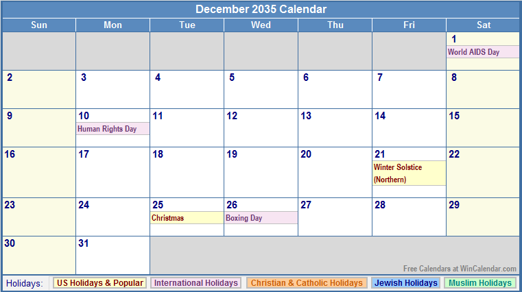 December 2035 calendar with us christian jewish muslim amp holidays