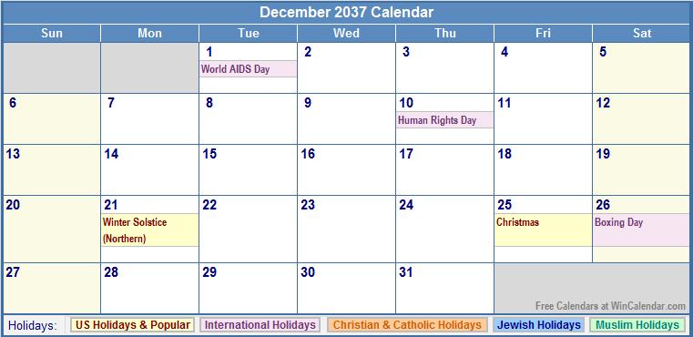 December 2037 Calendar with US, Christian, Jewish, Muslim & Holidays