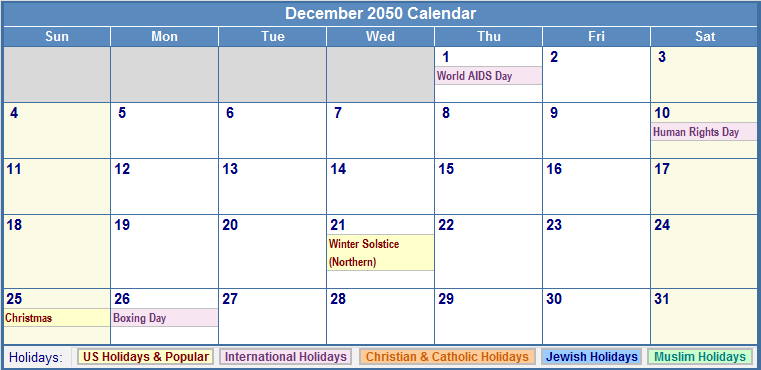 December 2050 Calendar with US, Christian, Jewish, Muslim & Holidays