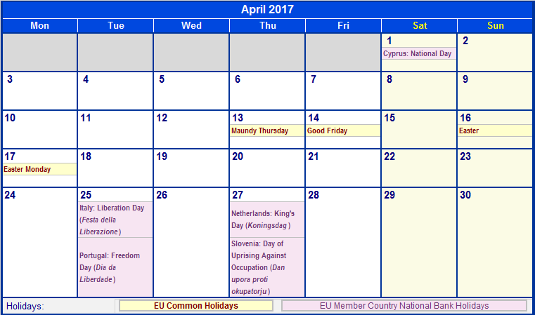 April 2017 Calendar with Holidays From www.wincalendar.com