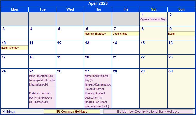 april 2023 eu calendar with holidays for printing  image