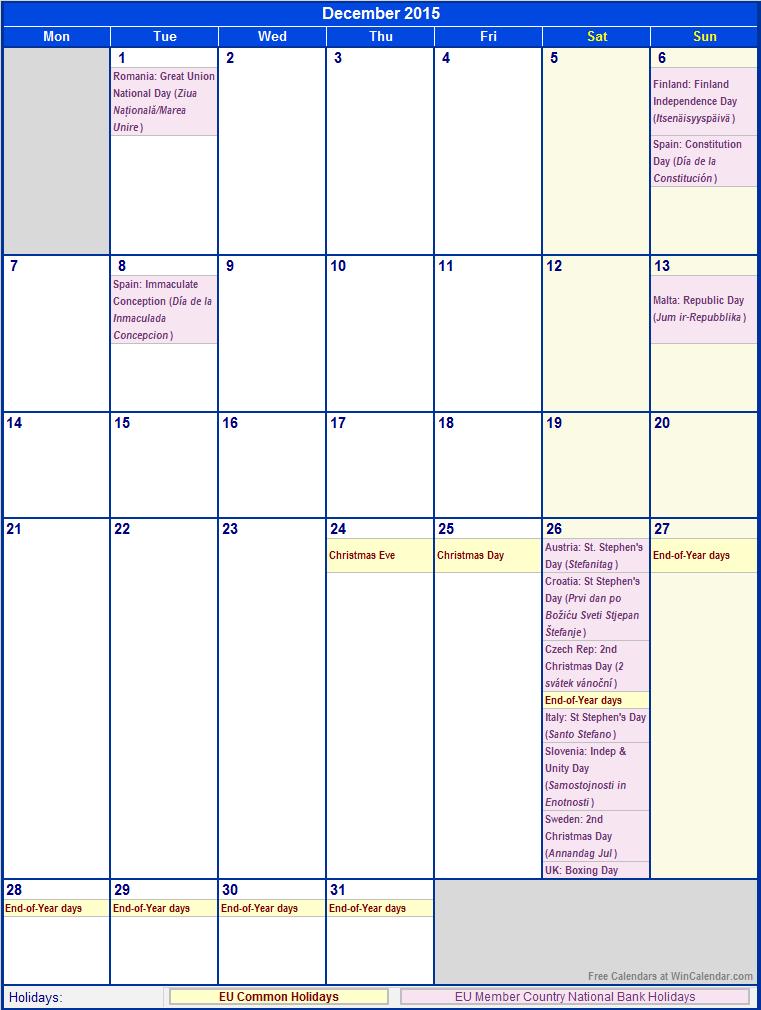 2015 Calendar With Federal Holidays