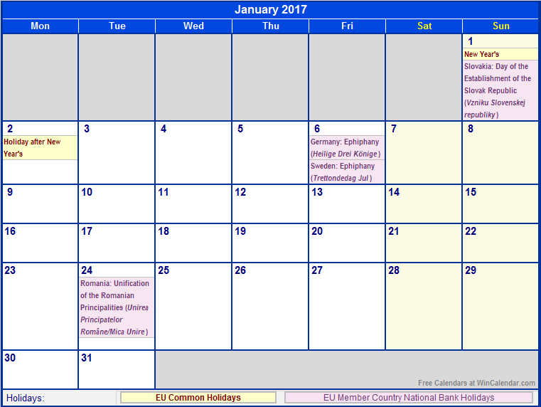 January 2017 Calendar Bank