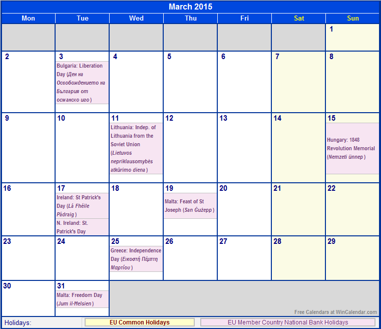 March 2015 Calendar with Holidays as Image to Print (European Union)