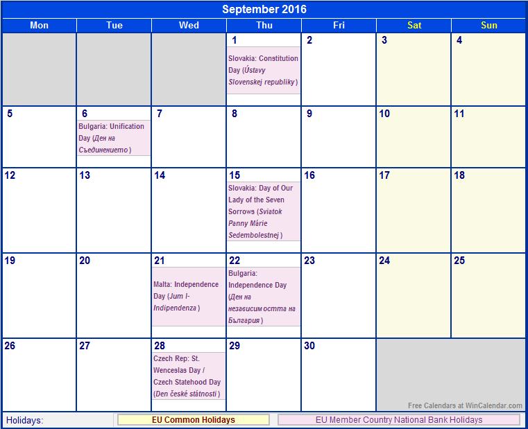 September 2016 Printable Calendar with EU common Holidays & EU Member ...
