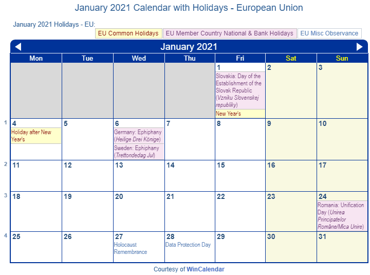 Mica 2021 Calendar Print Friendly January 2021 EU Calendar for printing