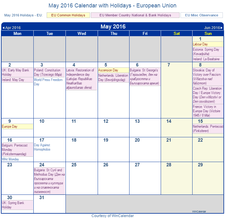 Printable May 2016 Calendar with Holidays -EU
