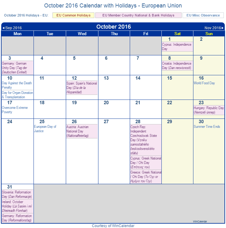 October 2016 Calendar with EU Holidays (Including Christian, Jewish,)