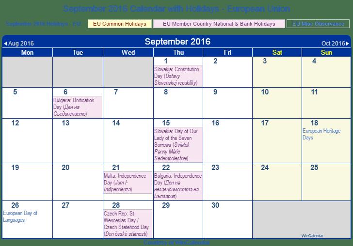 September Calendar 2016 With Holidays : Print friendly september eu calendar for printing