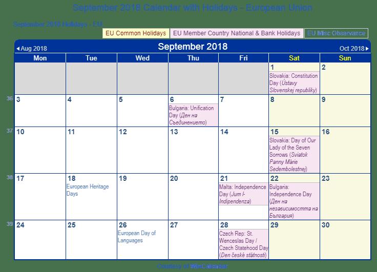 Print Friendly September 2018 EU Calendar For Printing