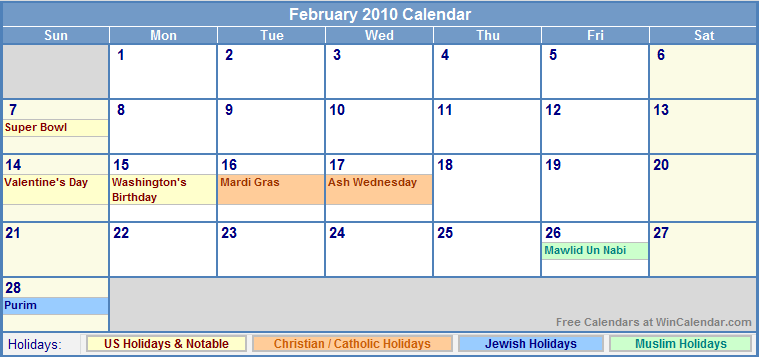 February 2010 Calendar with Holidays - as Picture