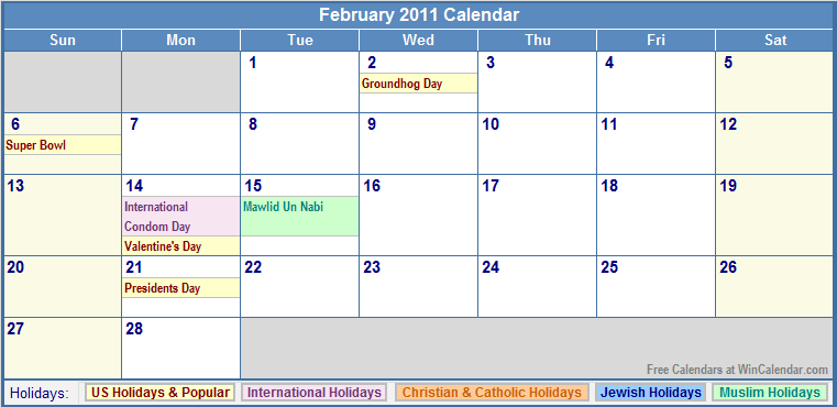 Printable February 2011 Calendar with Holidays.