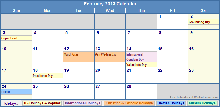 Feb 2013 Calendar with Holidays