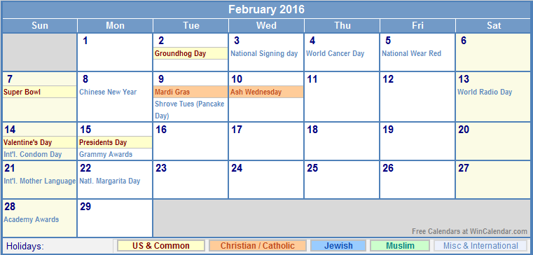 February 2016 Calendar with US, Christian, Jewish, Muslim & Holidays