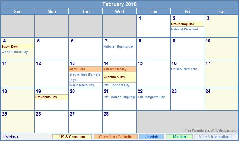 february 2018 calendar us holidays
