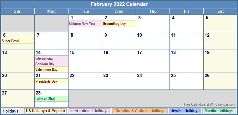 February 2022 Calendar with US, Christian, Jewish, Muslim & Holidays