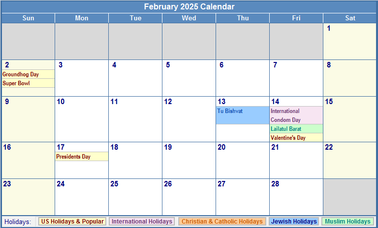 February 2025 Calendar with Holidays - as Picture