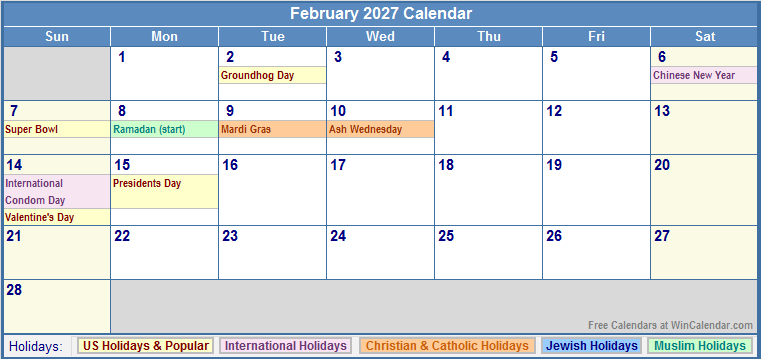 761 x 359 png 21kB, February 2027 Calendar with US, Christian, Jewish ...