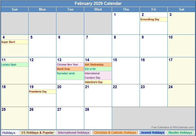 printable february 2013 calendar with holidays and ...