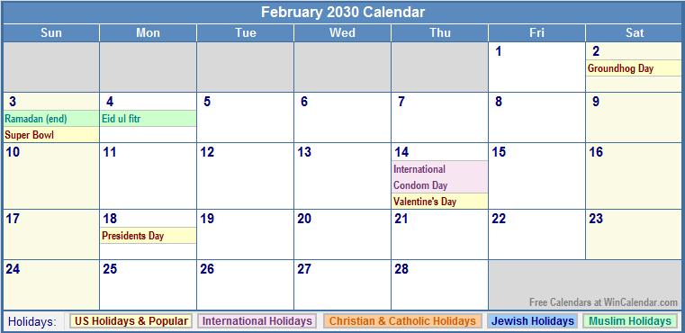 February 2030 Calendar with US, Christian, Jewish, Muslim & Holidays