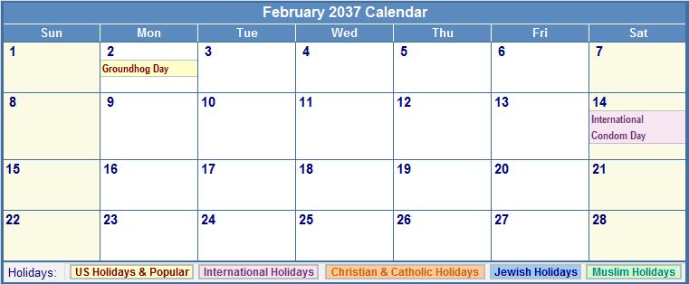 February 2037 Calendar with US, Christian, Jewish, Muslim & Holidays
