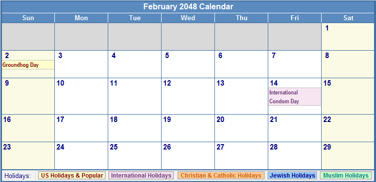 February 2048 Calendar with Holidays - as Picture