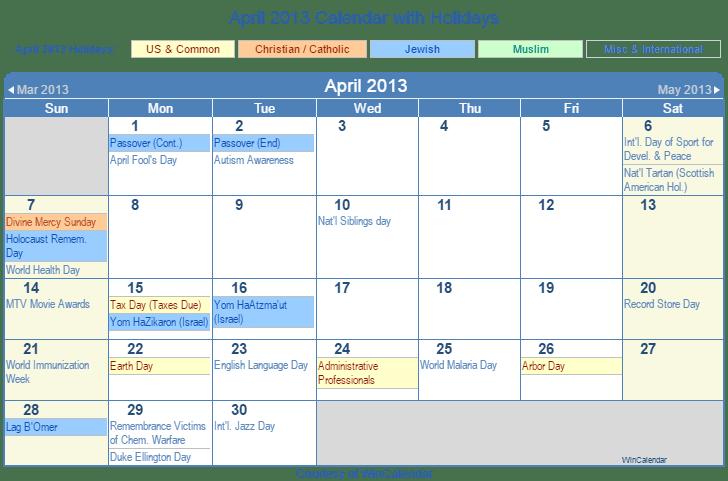 Calendar April 2013 : Print friendly april us calendar for printing