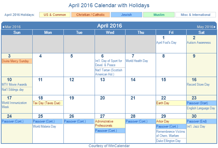 April 2016 Printable Calendar with US, Christian, Jewish, Muslim & Holidays