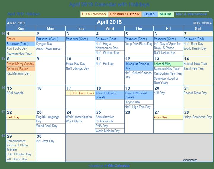 win calendar april 2018