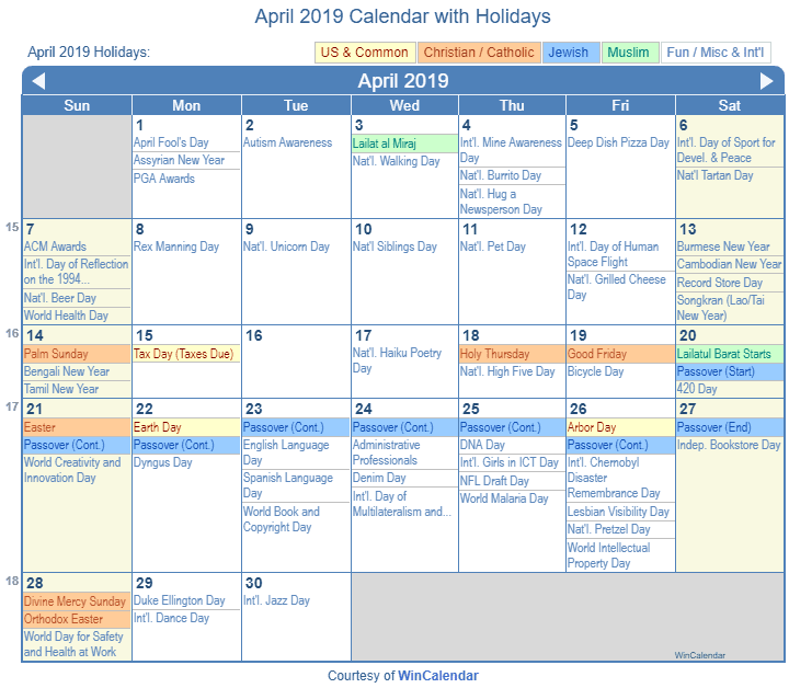 April 2019 Printable Calendar with US Holidays: Christian, Jewish and Muslim Holidays