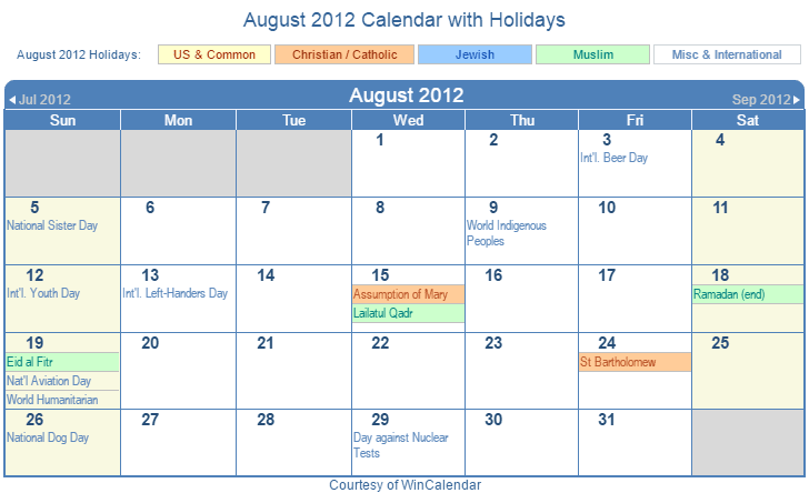 August 2012 Printable Calendar with US, Christian, Jewish, Muslim & Holidays