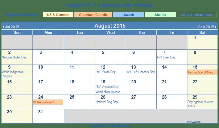 ... 2015 Printable Calendar with US, Christian, Jewish, Muslim & Holidays