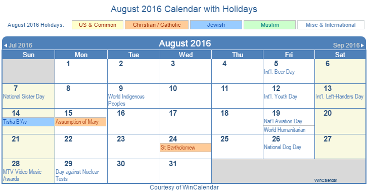 Printable August 2016 Calendar with Holidays - US