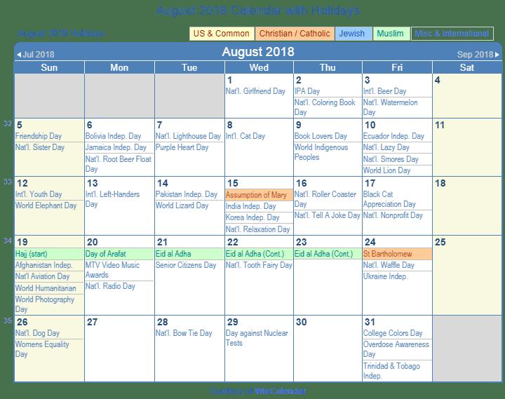 Print Friendly August 2018 Us Calendar For Printing