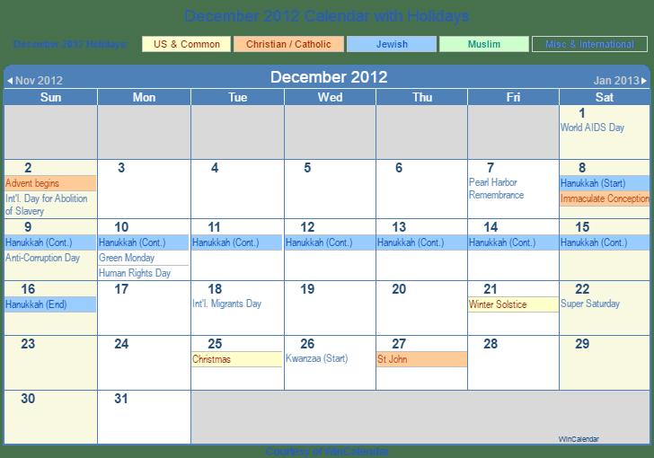 December 2012 Printable Calendar with US, Christian, Jewish, Muslim & Holidays
