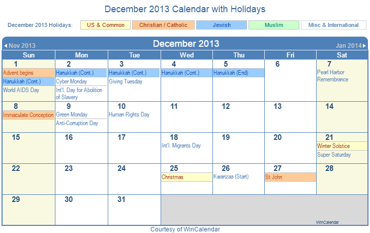 December 2013 Printable Calendar with US, Christian, Jewish, Muslim & Holidays