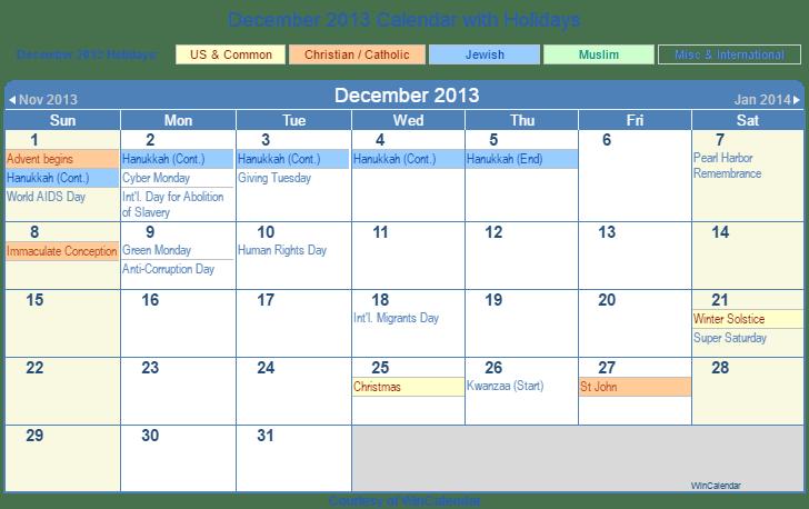 December 2013 Printable Calendar with US, Christian, Jewish, Muslim & Holidays
