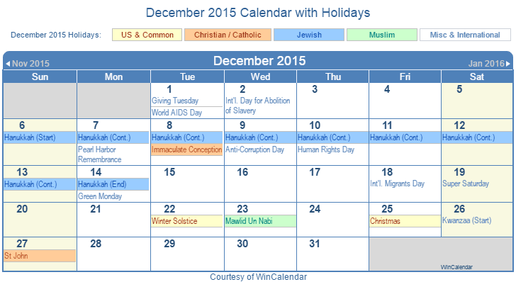 December 2015 Printable Calendar with US, Christian, Jewish, Muslim ...