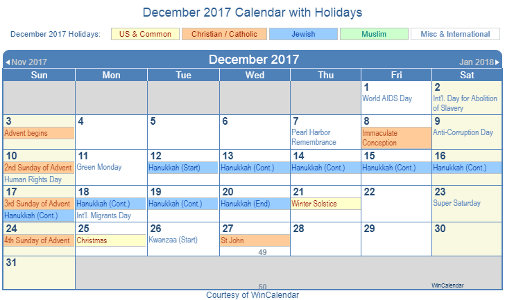 December 2017 Printable Calendar with US, Christian, Jewish, Muslim & Holidays