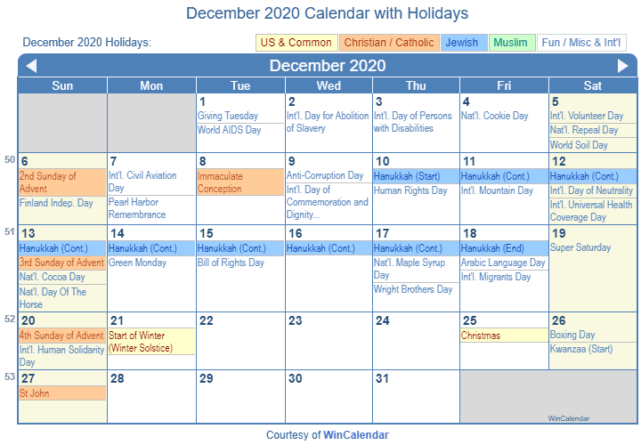 Print Friendly December 2020 US Calendar for printing