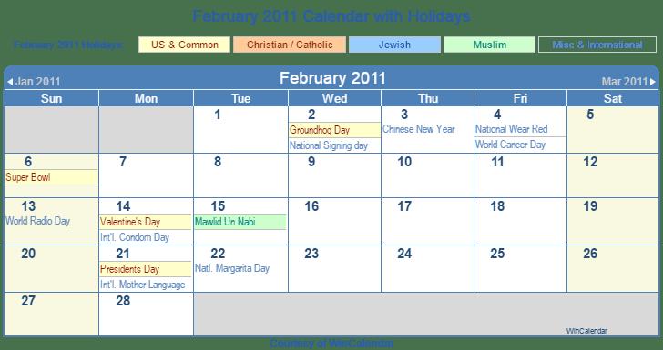 February 2011 Printable Calendar with US, Christian, Jewish, Muslim & Holidays