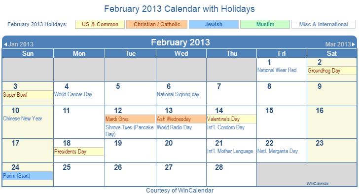 February 2013 Printable Calendar with US, Christian, Jewish, Muslim & Holidays