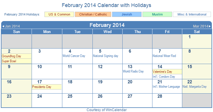February 2014 Printable Calendar with US, Christian, Jewish, Muslim & Holidays