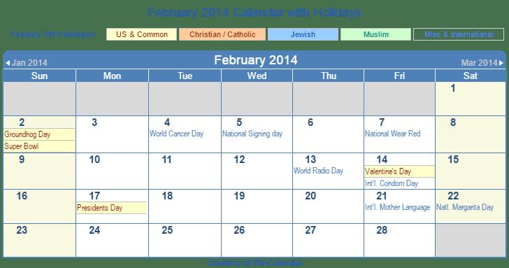 February 2014 Printable Calendar with US, Christian, Jewish, Muslim & Holidays