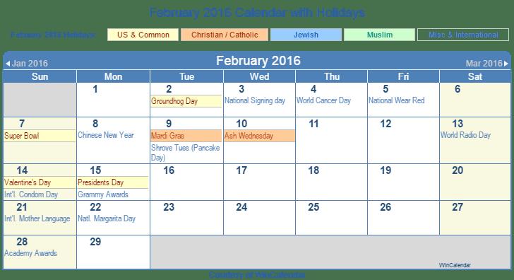 ... 2016 Printable Calendar with US, Christian, Jewish, Muslim & Holidays