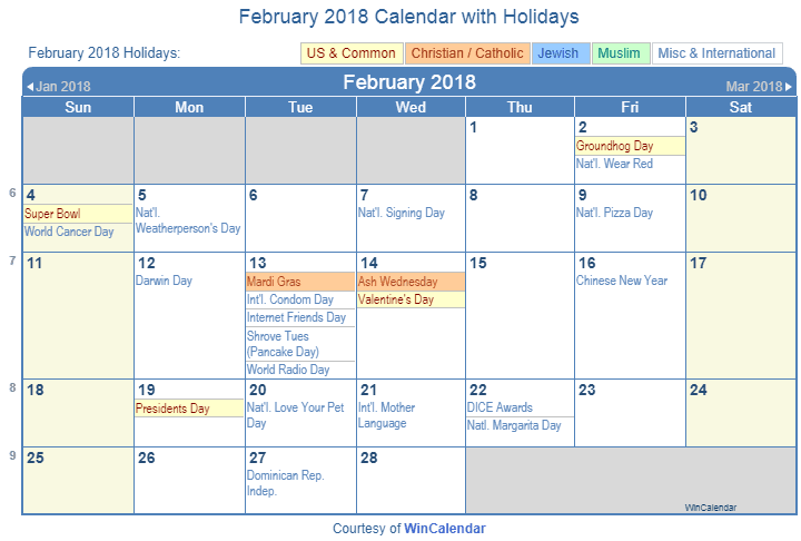 Print Friendly February 2018 US Calendar for printing